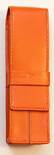 Portapenne doppio da taschino in pelle portapenne pelle markiaro arancione da tasca per penna da firma delta penne tasca portapenne con patelletta a 2 posti regalo natale penna firma