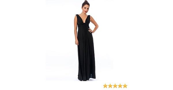 Blossoms Long Black Knot Panel Grecian Maxi Evening Dress 8-16 - Uk Size 12/Size 14 - Black - 58ins: Amazon.co.uk: Clothing