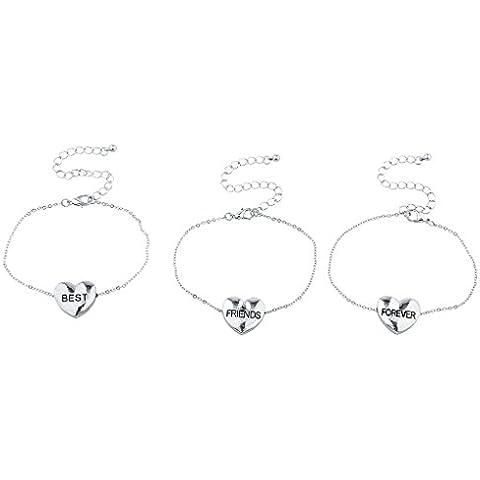 Lux accessori Best Friends Forever con cuore braccialetto set (3pezzi)