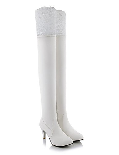 CU@EY Da donna-Stivaletti-Ufficio e lavoro / Formale / Casual-Stivali-A stiletto-Finta pelle-Nero / Bianco white-us9.5-10 / eu41 / uk7.5-8 / cn42