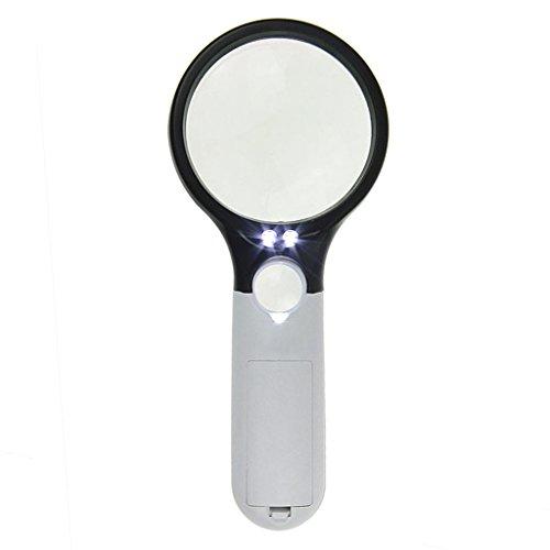 Doppel-linse Lupe (Handlupe Leselupe Doppel Objektiv Linse Lupe mit LED-Licht 3X 45X Fach Vergrößerung Juwelierlupe Glaslupe für Senioren)