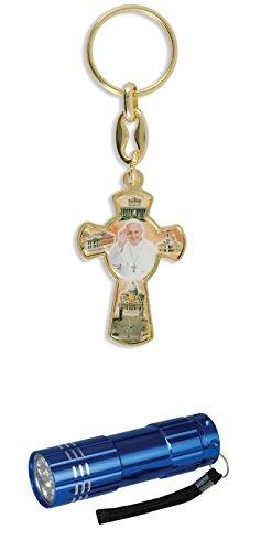 Zisaline-Kombi Schlüsselketten Kreuz goldfarben Papst Franziskus 9,5 cm (951988319234740) mit LED Alu Taschenlampe