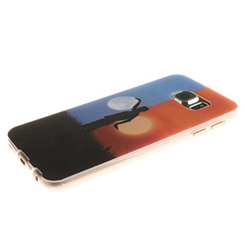 PowerQ Bunte Muster Serie Malerei Druck TPU Case Fall Hülle Etui < Cloud Giraffe - für IPhone 6 6S IPhone6S IPhone6 >          Zeichnung Tasche weiche Silikon Abdeckung Soft Silicone Cover Handytasche Handy-Ab Moon and Sun