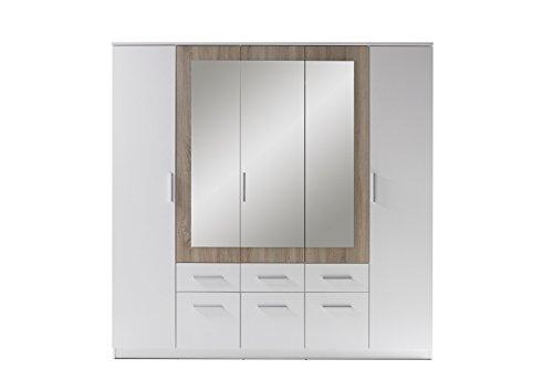 Stella Trading Box  5-türiger Kleiderschrank mit Spiegeltüren und 6 Schubkästen, Holz, weiß / sonoma, 60 x 212 x 213 cm