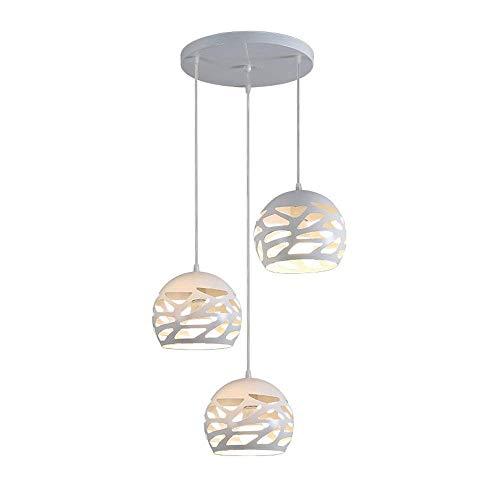 Modern Design Pendelleuchte Esstisch Hängeleuchte Kugel Deckenleuchte Kreative Einfache Hängelampe aus Metall Lampenschirme Weiß Pendellampe für Wohnzimmer Esszimmer Küche E27*3, Höhenverstellbar -