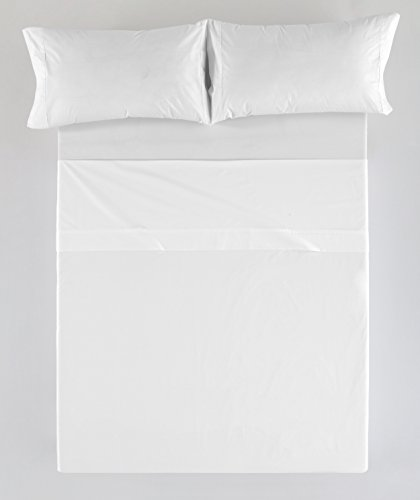ESTELA - Juego de sábanas Liso Color Blanco 4 Piezas - Cama de 150 cm. - 50% Algodón/50% Poliéster...