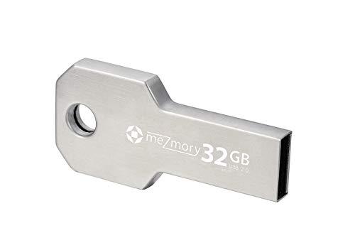 meZmory Schlüssel USB Stick 32GB Silber - Hochwertig & Einzigartiges Mini Design - USB 2.0 Speicherstick Wasserdicht & Extrem Robust aus Metall - Flash-Drive Ideal für Schlüssel-Anhänger