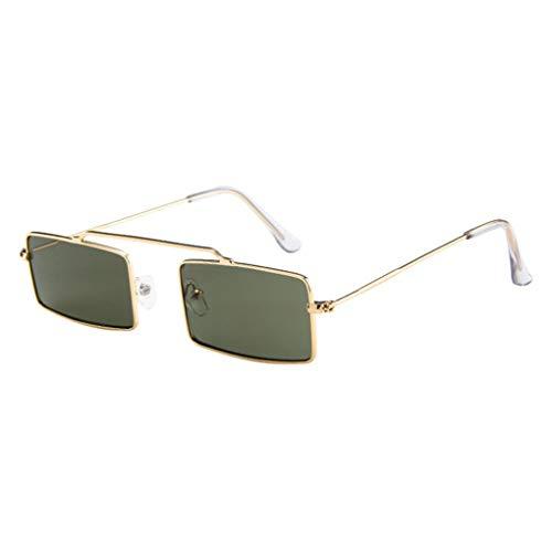 Dorical Sonnenbrille für Unisex/Damen Herren Kleine Quadratischer Frame Gläser Metallgestell Brillenfassung Coole Vintage Brillen/Brille Dekobrillen/Valentinstag Brille für Frauen Männer Sale