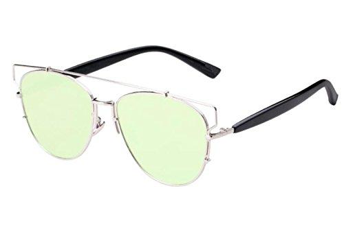 SHULING Sonnenbrille Neue Sonnenbrille Lady Fashion Big Box Anti-Uv-Sonnenbrille, Silber/Gold Blatt