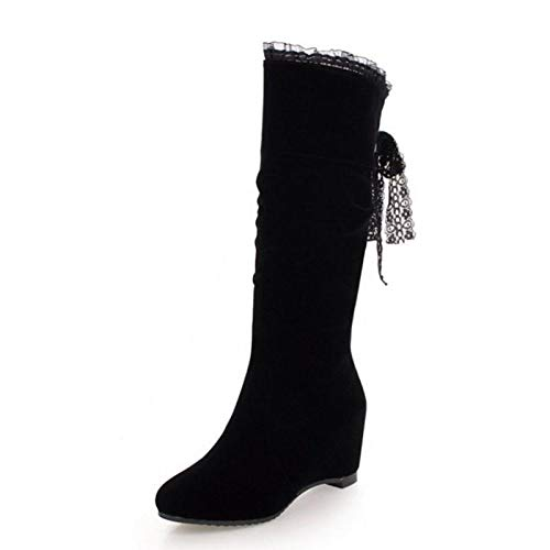 HAOLIEQUAN Größe 31-45 Frauen Stiefel Mitte Wade Inside Heel Winter Schuhe Frau Zurück Strap Bowknot Warm Lange Stiefel Wedge Schuhe, Schwarz, 9