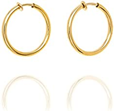Via Mazzini Stainless Steel Clip-On Golden Small Nose Ring for Women (1 Pair)