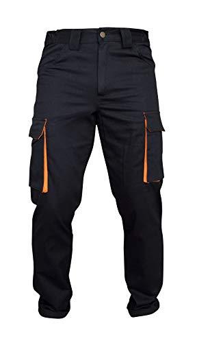 Pantalone da Lavoro con Tasche in Cotone Nero Arancione (40, Estivo)