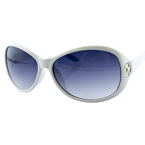 HAND H1048 stilvolle Damen große weiße Frame Mode Sonnenbrillen mit attraktiven Silber Ton Tempel Motiv - Breite an Tempeln 136 mm - 100% UV400 Schutz
