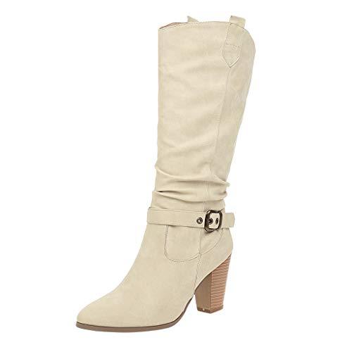 ➤Refill➤Damen Stiefel High Heels, Klassische Stiefel mit Blockabsatz Schnallen Winterstiefel Reiterstiefel Warm Gefüttert Cowgirl Western Cowboystiefel Biker Boots