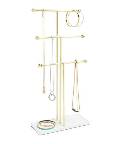 Umbra Trigem Schmuckbaum – Extra Hoher Schmuckständer für Ketten mit integrierter Schmuckablage für Ringe, Ohrringe, Armbänder, Uhren und Accessoires, 3-stufig, Metall, Weiß / Gold