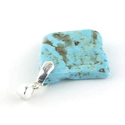"""Pendentif de minéral Turquoise bleu serti d'argent 925, 28x26x4 mm (1.1x1.02x0.16"""")"""