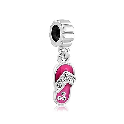 Uniqueen Pink Crystal Rhinestone Beach Shoes Charms Dangle Bead Sale For Pandora/Troll/Chamilia Charm