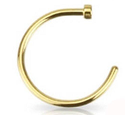 Piercing de Nez en Acier Chirurgical 316L recouvert d'or 14K - Diamètre 10mm