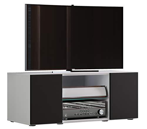VCM Lowina 95 Meuble TV Bois, Blanc/Noir, 40 x 95 x 36 cm