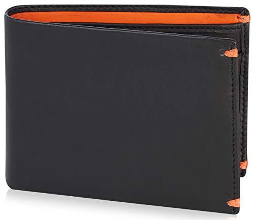 Visconti portafoglio di pelle da uomo a piegatura doppia 'BOND' Luxury Leather Wallet (BD10): (nero/arancia (Blk/Orange))