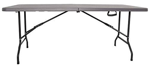 XONE Tavolo Pieghevole Stampo Legno Grigio con Struttura in Metallo e Piano in Resina, Dimensioni Tavolo 180x75,5x74cm, per Interni e Giardino