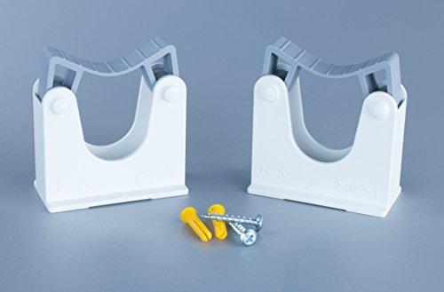 Werkzeughalterung Doppelpack Wandhalter Universalhalterung für Rohrdurchmesser 20-30mm Farbe weiß...