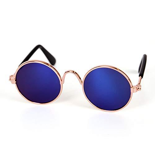 WSJF Hunde Sonnenbrille, Coole stilvolle und lustige niedliche Haustier-Sonnenbrille, Foto-Requisiten-Spielzeug, Welpen-Katzen-Lehrer-Bachelor spielt Welpen-Katzen-Gläser (Farbe : Blau)