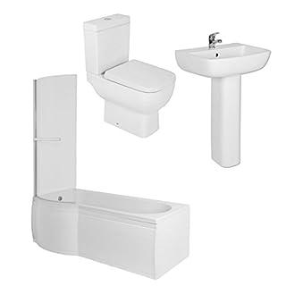 Feel 600kurz Projektion Badezimmer Suite mit 1675mm links Hand P Form Dusche Bad und Toilette in blockbauweise mit Absenkautomatik