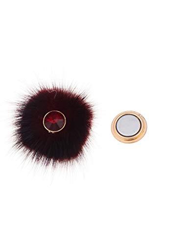 Preisvergleich Produktbild Leslii Damen-Pin Magnet-Anstecker Funkel Bommel Rot Kunstfell Glas-Stein 5cm 270116909