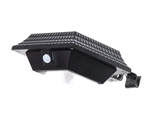 WFTD Luz De Canal Solar Luz De Pared PIR Sensor De Movimiento Resistente Al Agua De Seguridad Inalámbrica con Soporte 12 LED Adecuado para Jardín Al Aire Libre, Valla, Casa De Perro,Black,Square