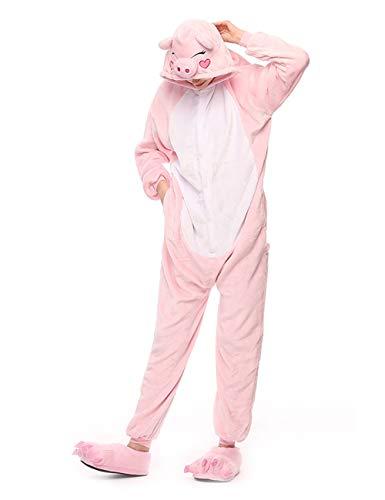 ShiyiUP Tier Schlafanzug Lustig Jumpsuit Cosplay Kostüm Overall Halloween Erwaschene Damen Herren Koala(Ohne Schuhe) (L, Schwein)