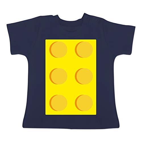 Karneval und Fasching Baby - gelber Stein 6-1-3 Monate - Navy Blau - BZ02 - Baby T-Shirt Kurzarm