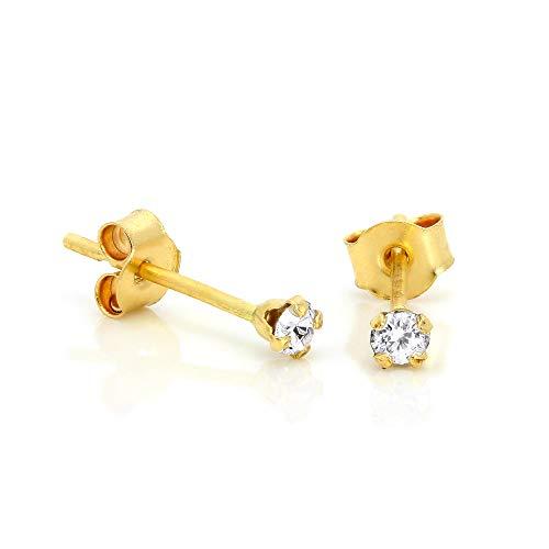 Orecchini punto luce in oro giallo 9ct e pietre bianche rotonde di 2mm