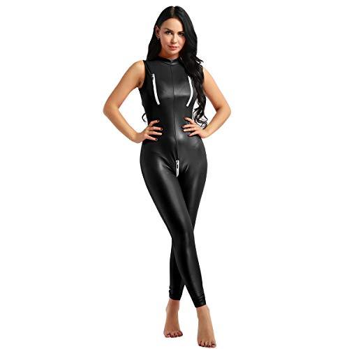 YiZYiF Frauen Einteiler Wetlook Leder Bodysuit Stehkragen Ärmellos Overall Trikot Body Catsuit mit Reißverschluss Jumpsuit Ganzkörperanzug Clubwear Schwarz XX-Large Catsuit Overall