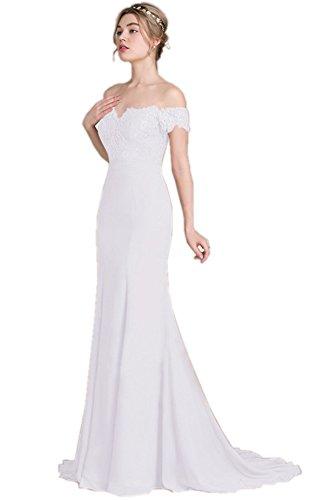 ANNA QUEEN Damen Hochzeitskleid, Schulter Kurzarm Hochzeit Lange Maxikleider (klein, Weiß)