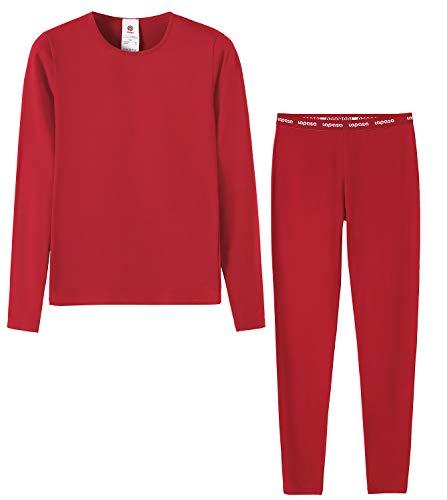 LAPASA Mädchen Innenfleece Thermounterwäsche Set Thermounterhemden Thermo-Unterhosen Ski Funktionsunterwäsche für Winter G03 (7-8 Jahre (M), Rot)