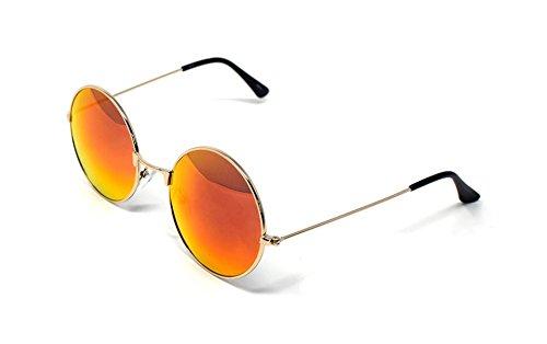 Ultra-Gold-Rahmen verbrannt Orange Flip-Stil Erwachsene Retro Runde Sonnenbrillen Stil John Lennon Vintage Look Qualität UV400 Elton Brillen Männer Frauen Klassische Unisex-Brillen