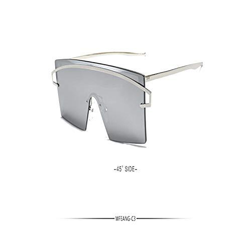 Sport-Sonnenbrillen, Vintage Sonnenbrillen, New Flat Top Goggle Sun Glasses Oversize Goggles Men Square Sunglasses Women Fashion Famous Brand Gafas De Sol C3