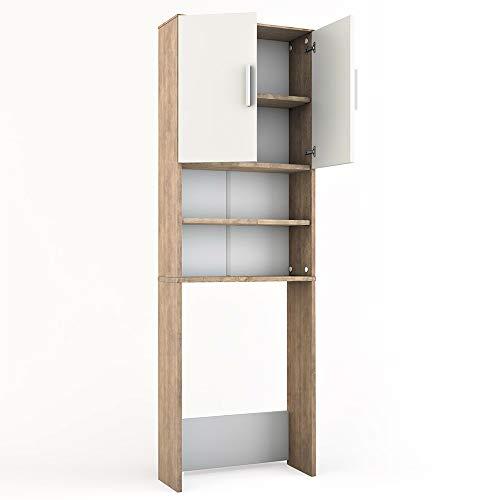 Vicco Waschmaschinenschrank 190 x 64 cm - Badregal Hochschrank Waschmaschine Bad Schrank Badezimmerschrank Überbau (Weiß) (Sonoma Eiche)
