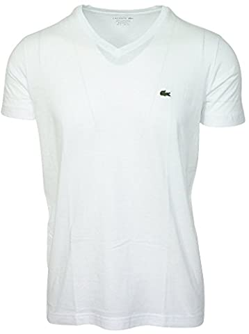 Lacoste - T-shirt lacoste col V blanc T7
