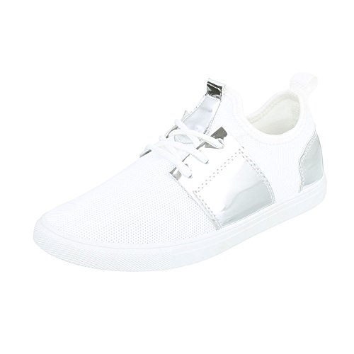 Sneakers casual bianche con stringhe per donna Kk4gjJ1QU