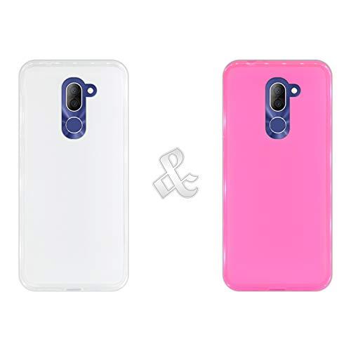 Pack [2 Stück] Hülle [Klar + Pink] für [Alcatel 3X], Handyhülle Silikon Flexibel Gel, Stoßfest, Harte Schutzhülle, Schutz vor Kratzer & Staub