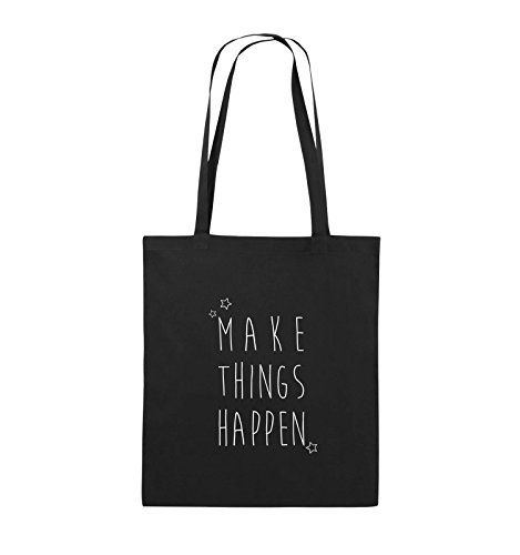 Comedy Bags - MAKE THINGS HAPPEN - Jutebeutel - lange Henkel - 38x42cm - Farbe: Schwarz / Silber Schwarz / Weiss