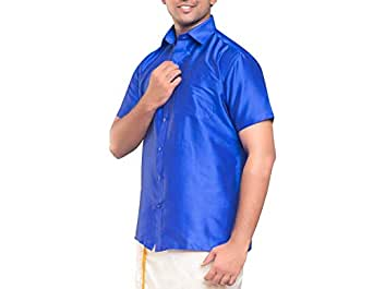 RIRO Men's Plain Silk Cotton Regular Fit Formal/Traditional/Ceremony/Casual/Business/Plain Half Sleeve Shirts (Focus Shirt Colour_36)