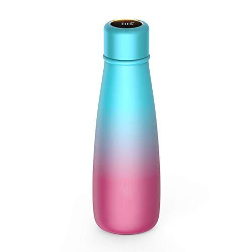 OLT -Water bottle Trinkwasser der kreativen Anzeigen-Temperaturanzeige der intelligenten Wasserschalenisolierungsflasche weiblichen Männer tragbarer Edelstahlsaugnapf (Color : Two-Tone)