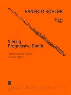 Vierzig progressive Duette: 15 schwerere Duette. Heft 2. op. 55. 2 Flöten.