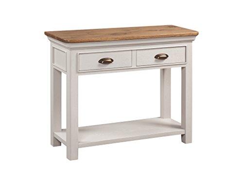 The One Großer Hall Tisch Eiche lackiert-French Rustikal lackiert Eiche 2Schubladen-Konsole mit 6403Pflanzenschild lackiert Eiche Möbel-Flur, Esszimmer, Wohnzimmer Möbel -