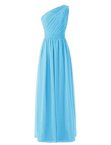 Fanciest Damen One Shoulder Lang Brautjungferkleider Formelle Wedding Party Kleider Gray Blue
