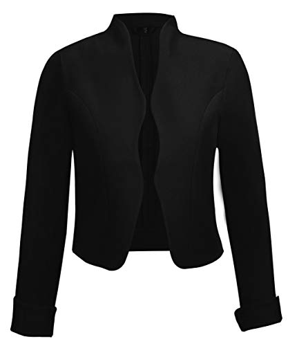 TrendiMax Damen Eleganter Blazer Jacke Kurz Bolero Jäckchen, Schwarz, L