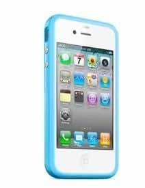 Bumper Schutzhülle für Apple iPhone 4 4S türkis blau TPU Metallbutton